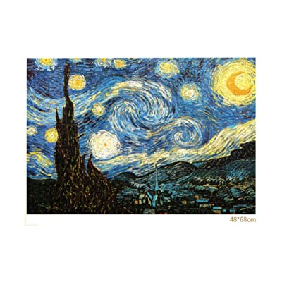 TOYANDONA 1000 pcs Adult Puzzles, Starry Night Jigsaw Van Gogh Jigsaw Puzzle Oil Painting Jigsaw Puzzle for Adult Kid (Colorful): Toys & Games