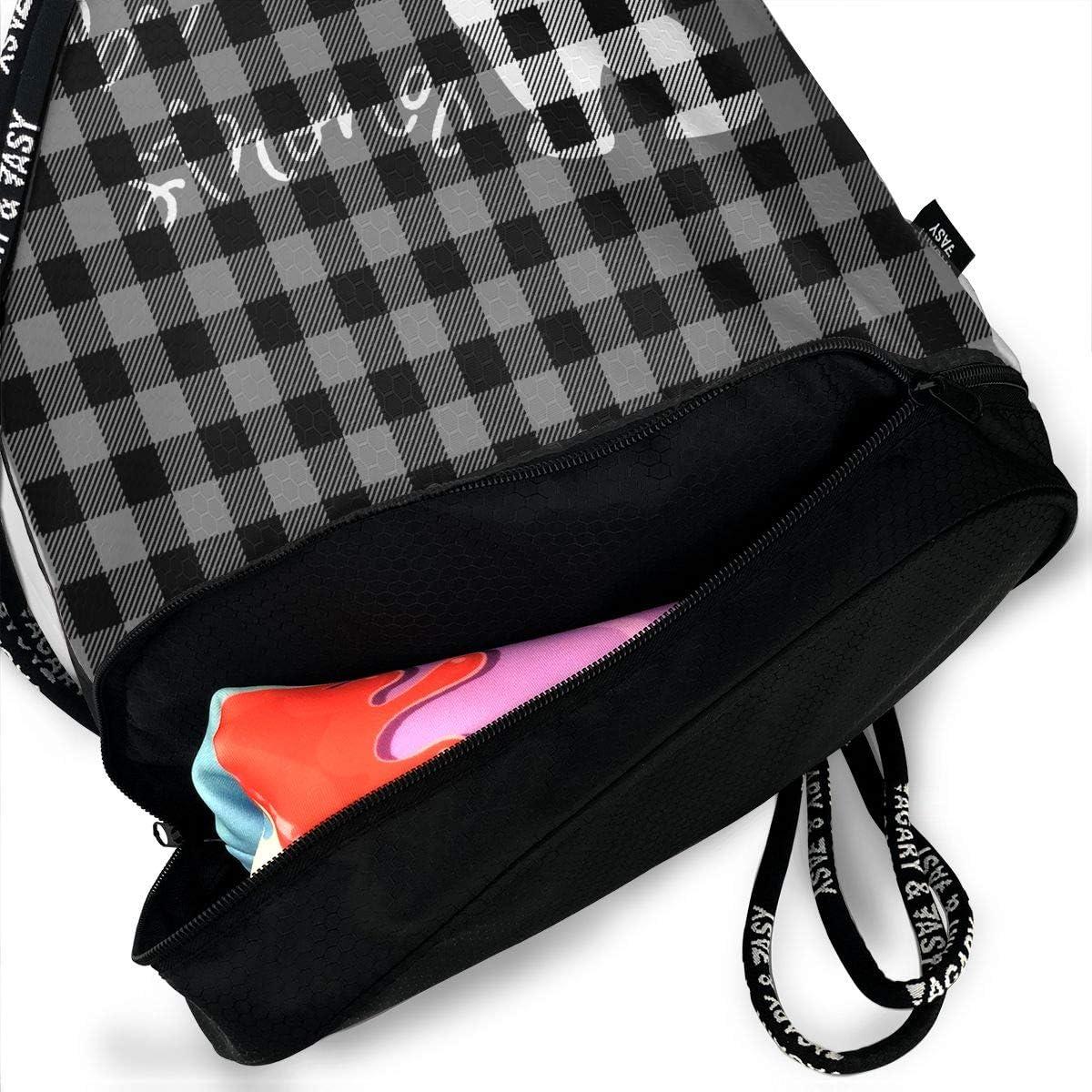 HUOPR5Q Buffalo Plaid Bear Black Gray Drawstring Backpack Sport Gym Sack Shoulder Bulk Bag Dance Bag for School Travel