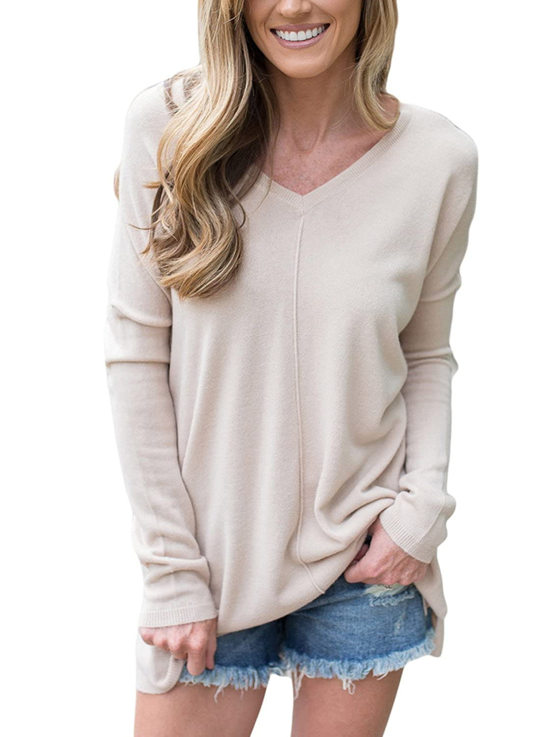 Astylish Women Casual V Neck Slit Long Sleeve Loose Knit Pullover Sweater Tops