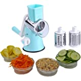 Vegetable Chopper and Cheese Grater By Famco Fitness | Vegetable Slicer, Food Shredder, Potato Shredder, Nut Grinder - 3 Stainless Steel Round Blades - Slices, Chops, Juliennes - Dishwasher Safe