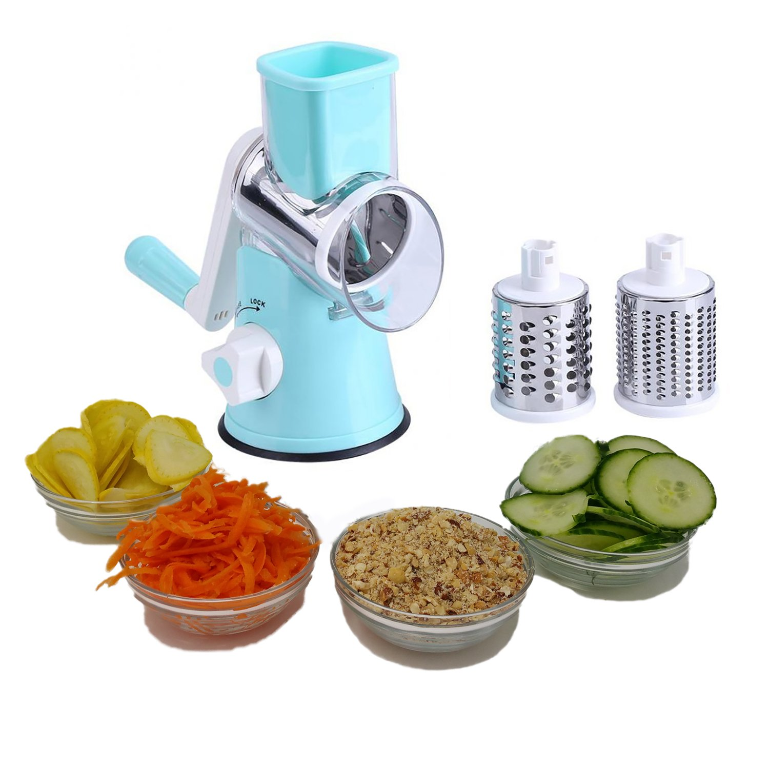 Vegetable Chopper and Cheese Grater with Suction By Famco Fitness | Vegetable Cheese Slicer, Food Shredder, Potato Shredder, Nut Grinder - 3 Stainless Steel Round Blades - Dishwasher Safe