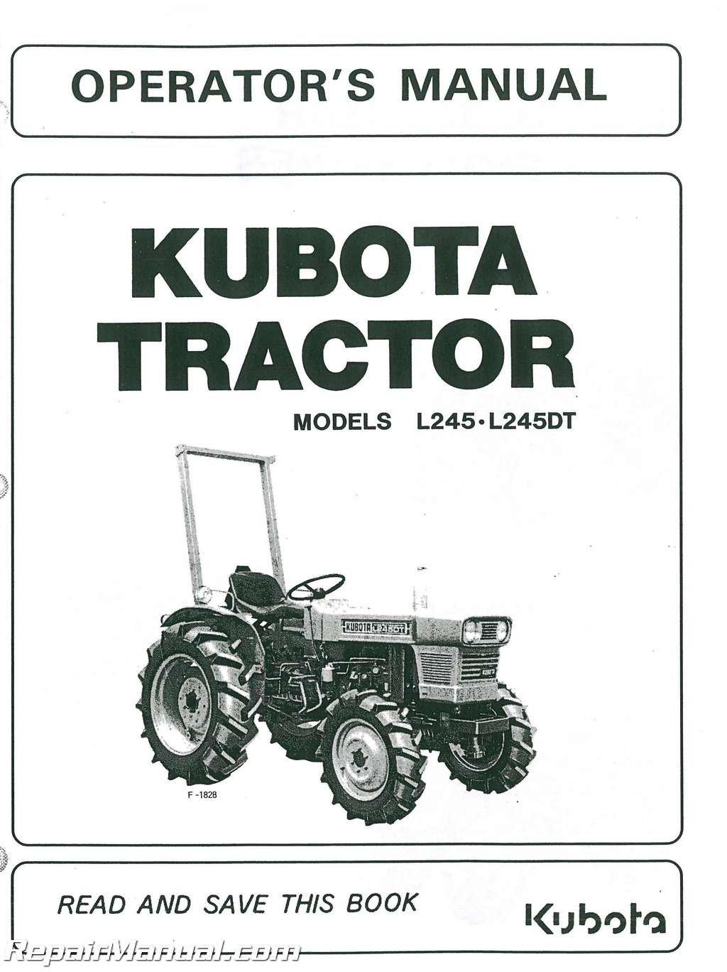 JS-KU-O-L245-PLUS Kubota L245 L245DT Operators Manual: Manufacturer:  Amazon.com: Books