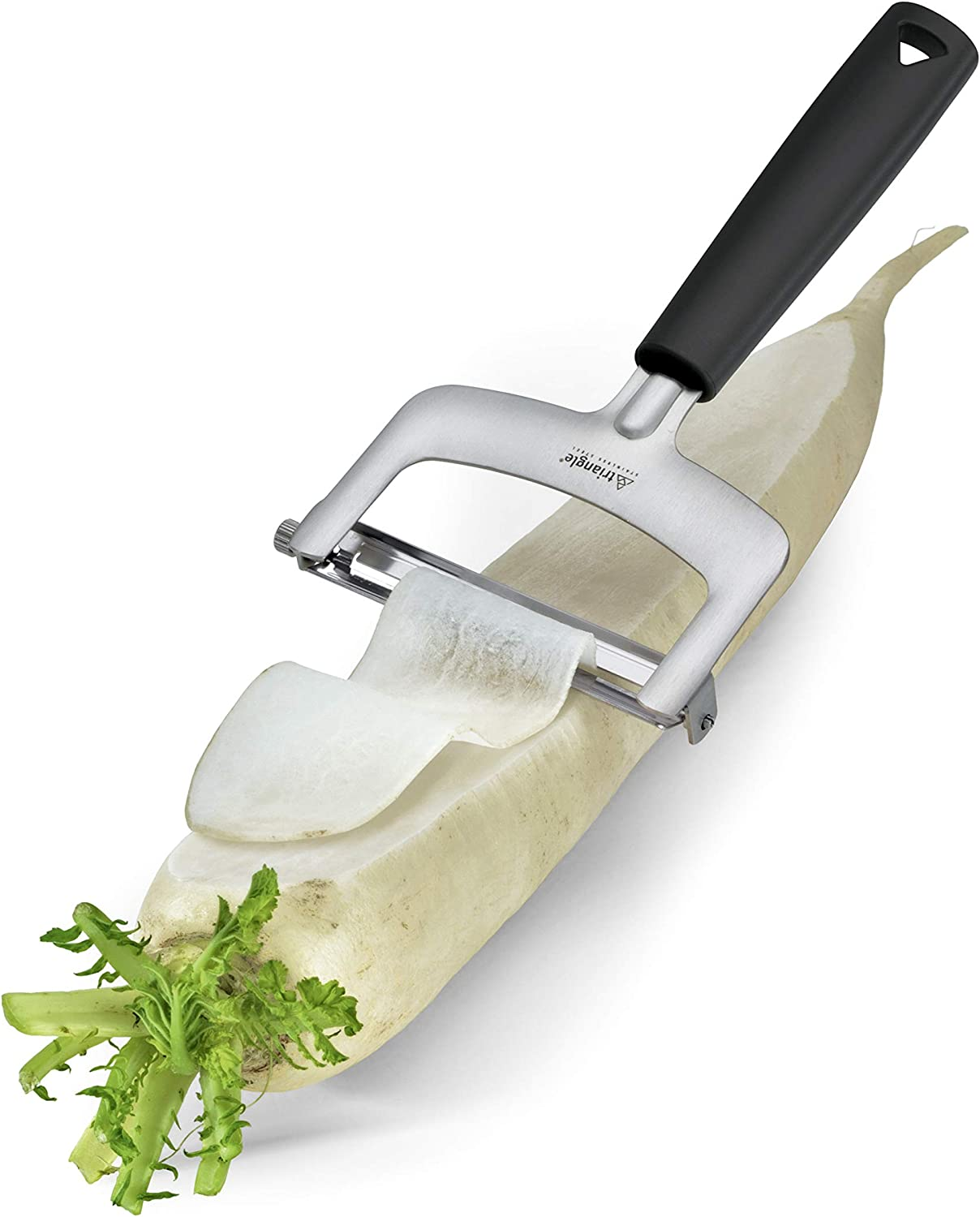 Dishwasher Safe Innovative Tool Effortlessly Cuts Vegetables into Uniform Strips 3 Ultra-sharp Tempered Stainless Steel Blades for Thin to Thick Slices Triangle Germany 3-Piece Slicer Set