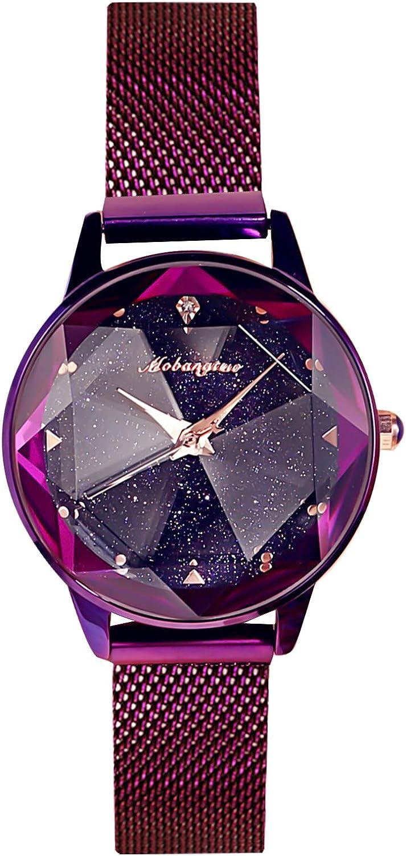 RORIOS Fashion Mujer Relojes de Pulsera Brillante Cielo Estrellado Dial Band Relojes de Mujer Women Watch