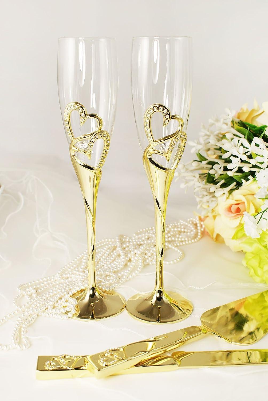 Amazon.com | Gold Wedding Toasting Glass Knife and Wedding Cake ...