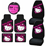7 pc Hello Kitty Collage Black & Pink Steering Seat Covers Rubber Mats Universal