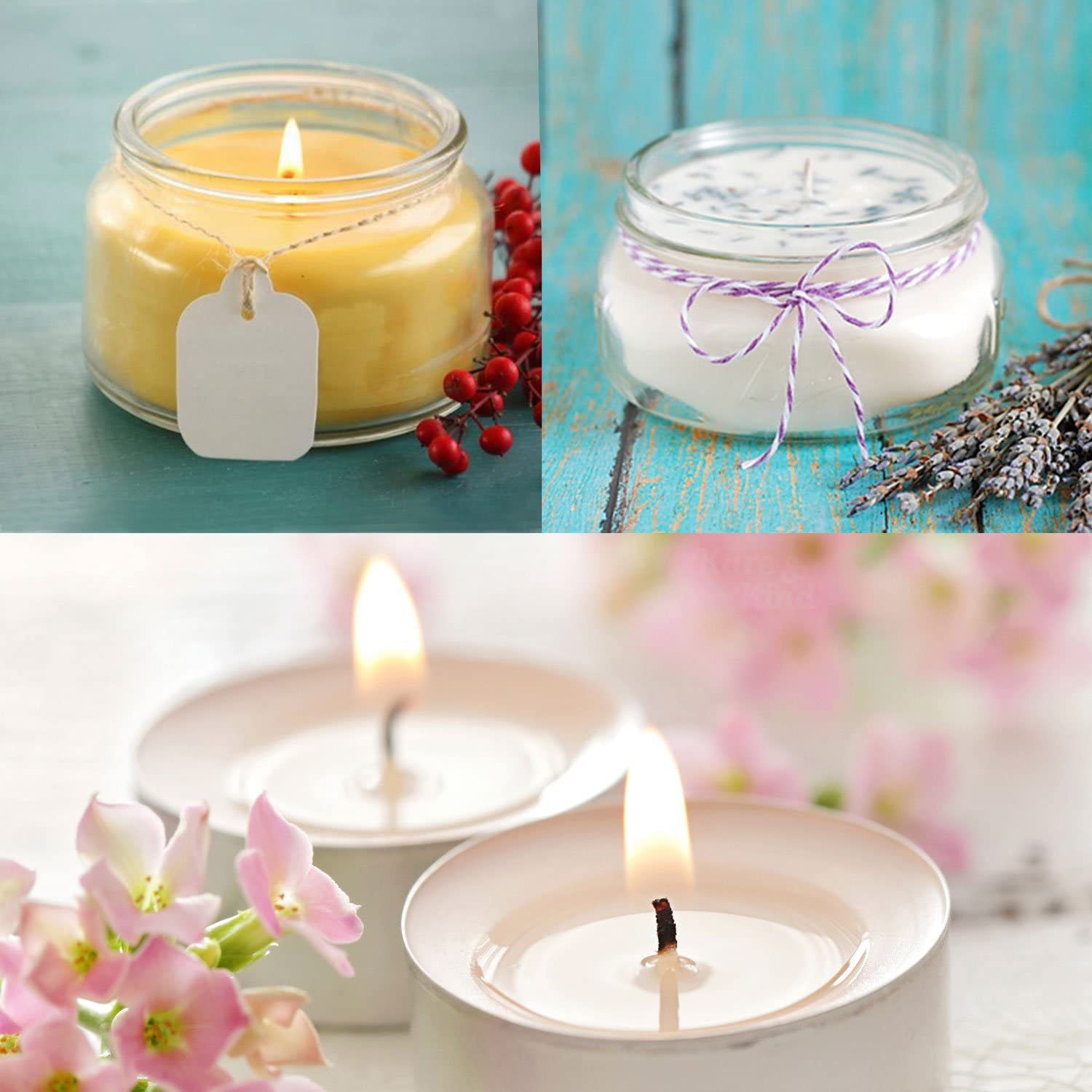 Easy Positioning Cotton Threads Woven with Paper Contains No Lead 50 Stickers and 3 Wick Holders Zinc or Other Metals Candle Wick Bundle: 50 Candle Wicks Wicks Coated With Natural Soy Wax