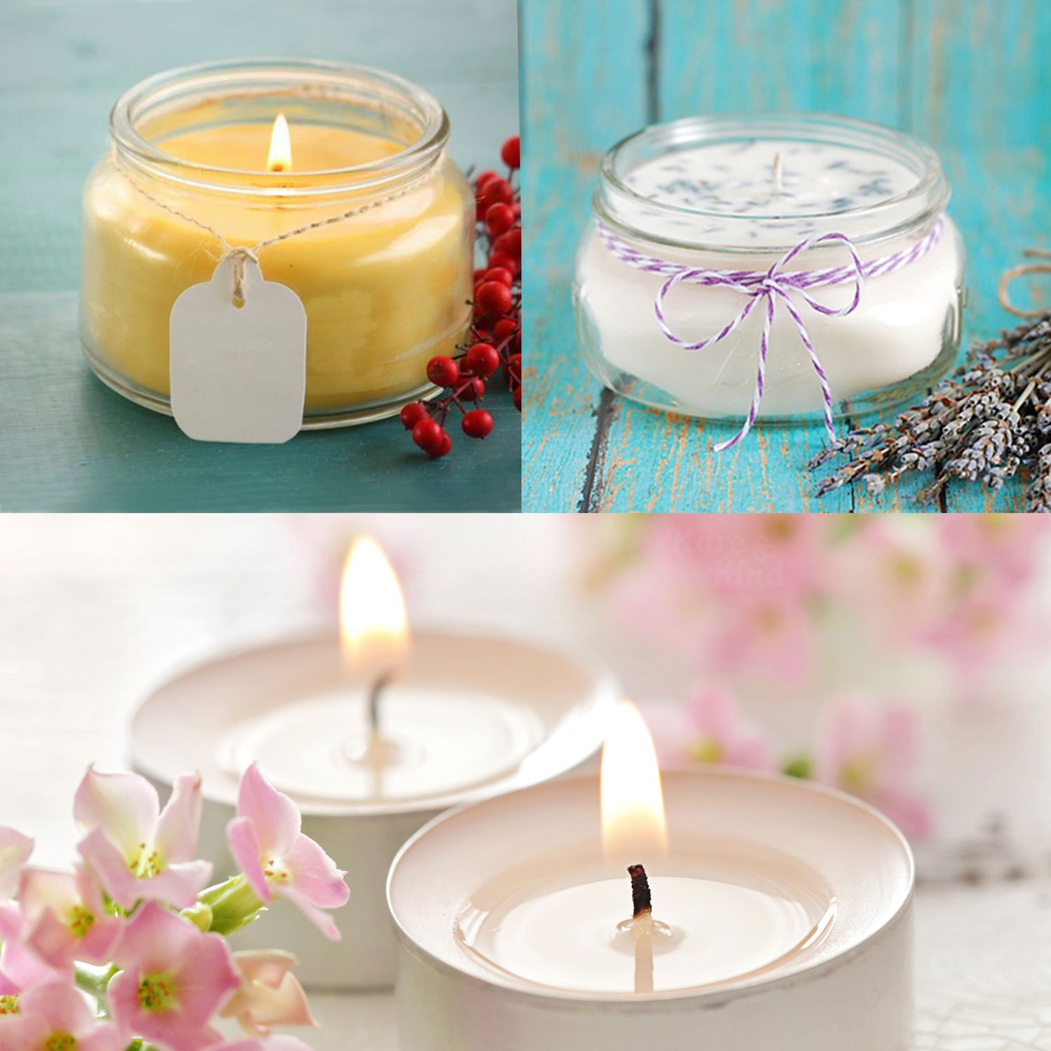 Cotton Threads Woven with Paper 50 Stickers and 3 Wick Holders Wicks Coated With Natural Soy Wax Candle Wick Bundle: 50 Candle Wicks Contains No Lead Easy Positioning Zinc or Other Metals