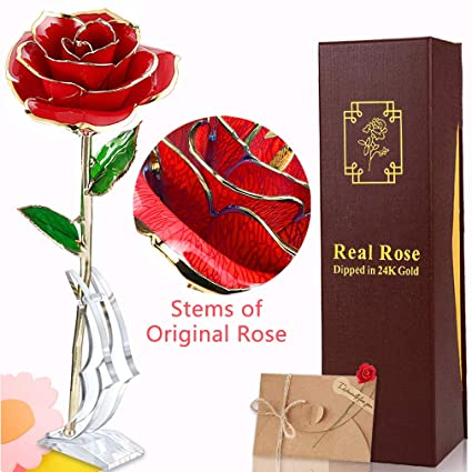 97606b3843ee8 Mother's Day Gift 24k Gold Rose Flower Everlasting Real Rose Dipped in Gold  Flowers with Transparent Moon Stand & Gift Box & Card for Her Girls Women  ...