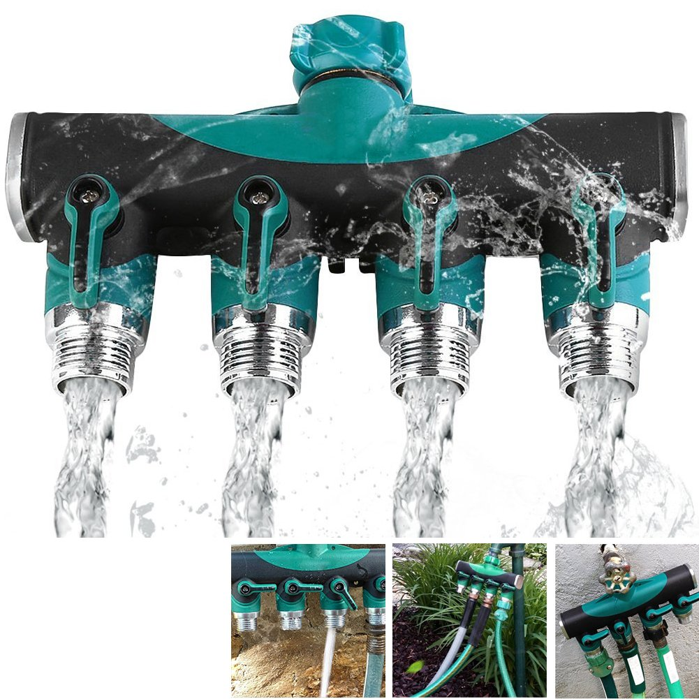 4 Way Heavy Duty Hose Splitter, Garden Hose Connector with Rubberized Grip and Zinc Alloy Body, 100% Secured without Toxic Lead, 45 Degree Elbow , For Better Garden Life