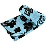 New Pet Touch Soft Fleece Pet Blanket Dogs Puppy Cat Kittens Blankets Paws & Bones Print ((73 X 70) cm, Blue (Black Paws))