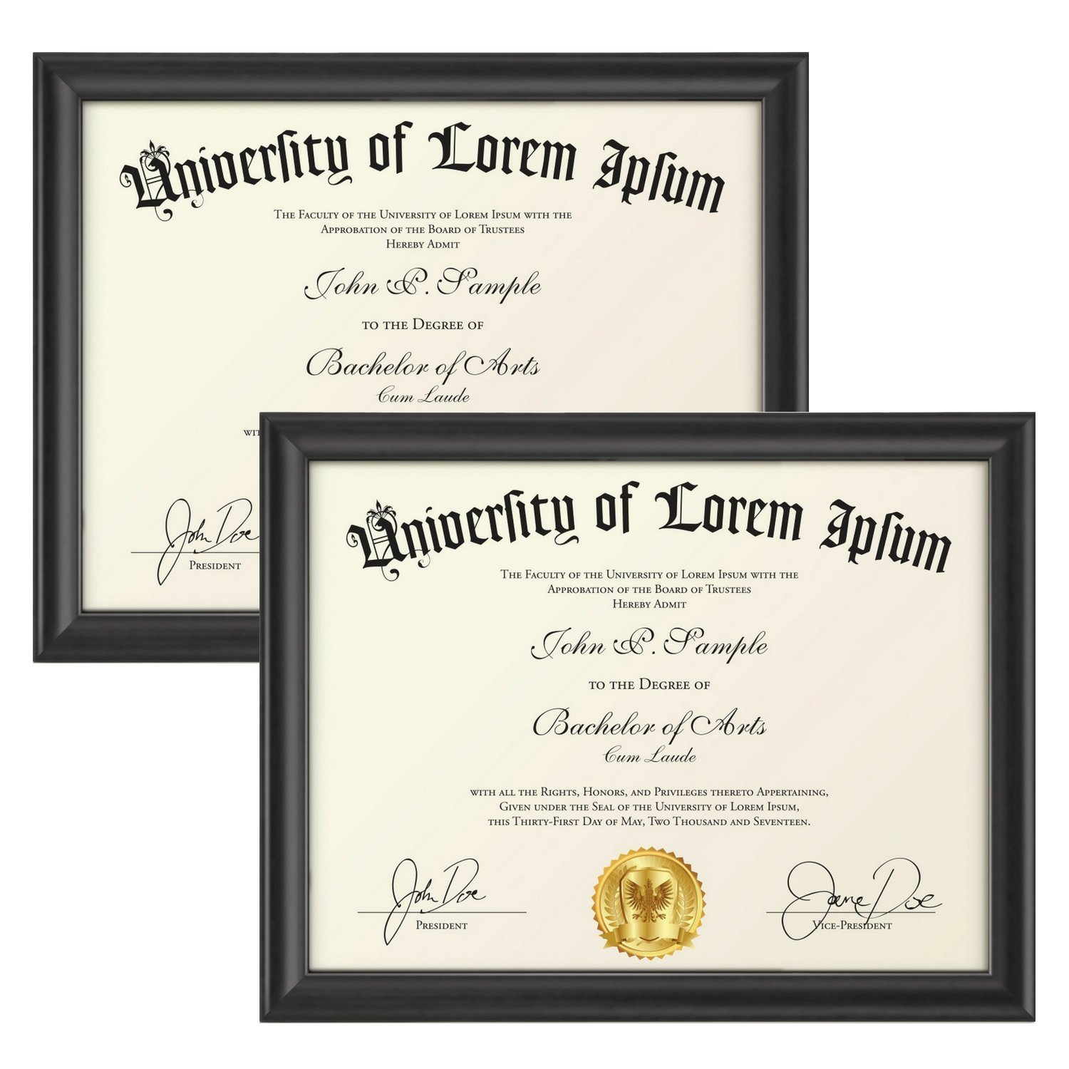 Icona Bay 8.5 by 11 Picture Frames 2 Pack (8.5x11, Matte Black) Wood Diploma Frames, Wall Hanging or Table Top, for Photo Document Certificate, Landscape as 11x8.5 or Portrait, Lakeland Collection
