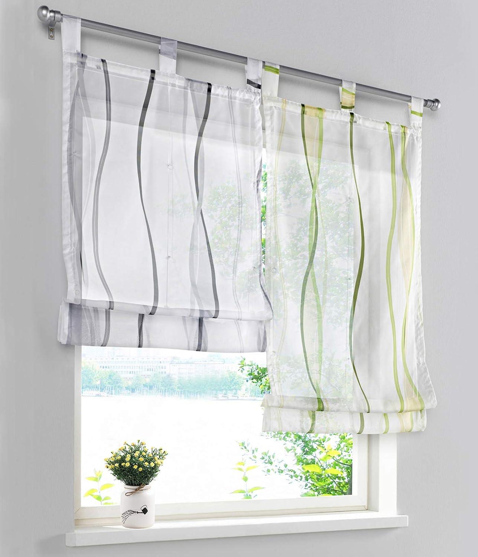LiYa 1 St/ück Raffrollo mit Wellen Muster Design Raffgardine Voile Transparent Vorhang BxH 60x140cm, Sand