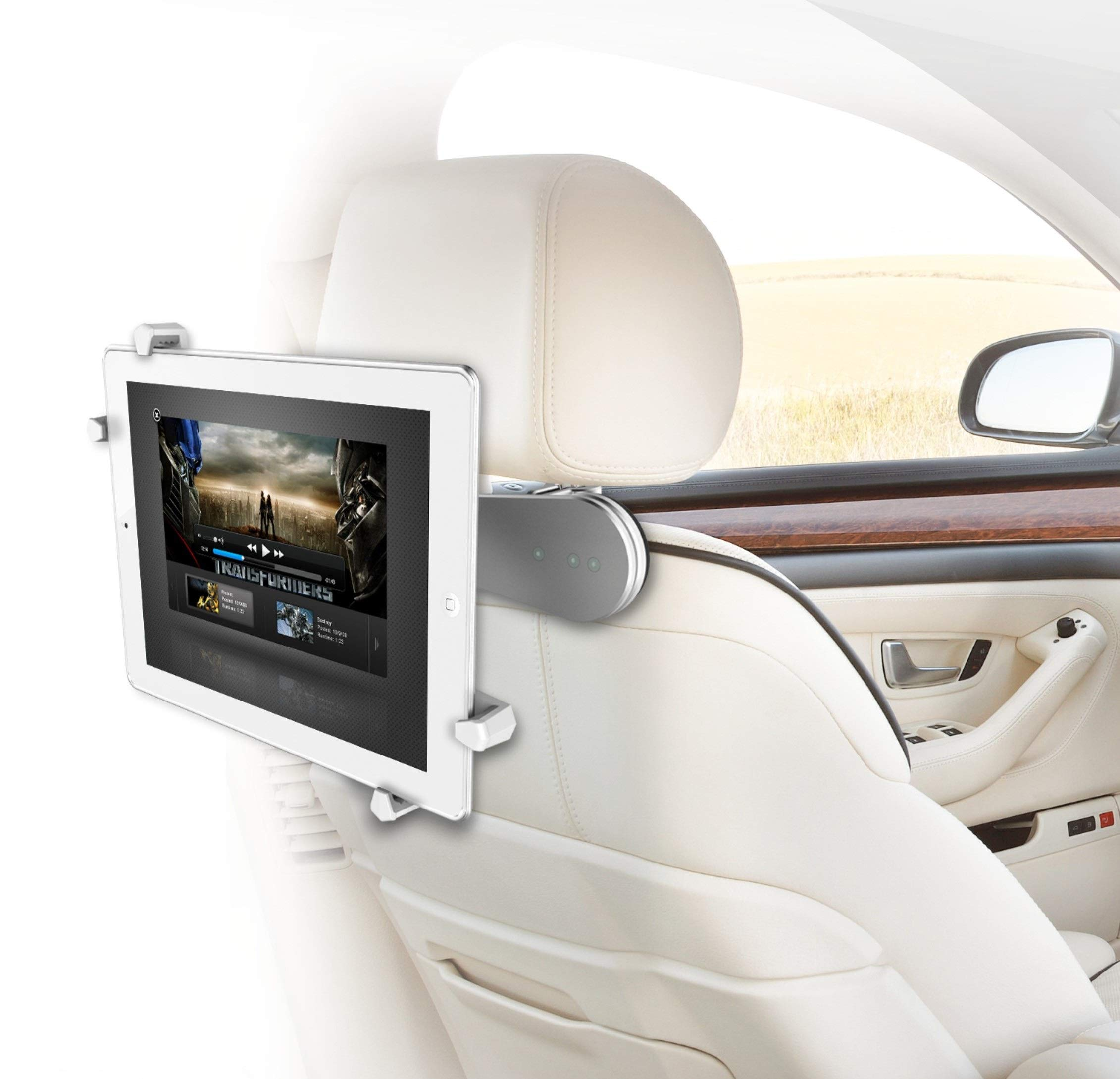 ZAZZ Tablet Holder for car, Flexible Mount (Aluminium), Swivel Between headrests,Compatible with iPad/Kindle Fire and Tablets