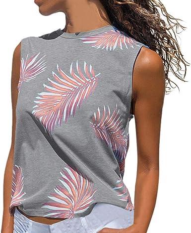 OPAKY Camiseta sin Mangas con Estampado de Mujer Camiseta de ...