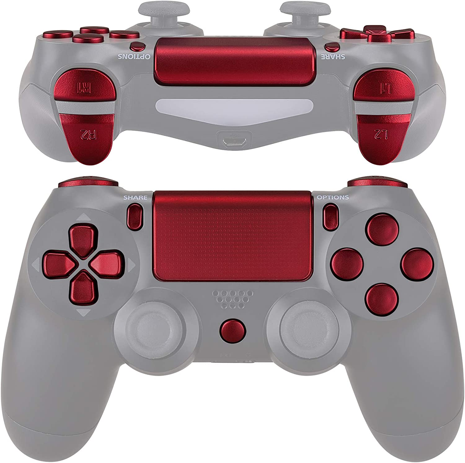 eXtremeRate Replacement D-pad R1 L1 R2 L2 Trigger Touchpad Action Home Share Options Buttons, Scarlet Red Full Set Buttons Repair Kits with Tool for Playstation 4 PS4 Slim PS4 Pro CUH-ZCT2 Controller