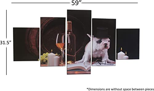 LuckyChoice Canvas Wall Art Painting Five Piece Sectioned Canvas Wall Art Beautiful High-Resolution Printed Rustic Photo of Dog Drinking Wine 59 x 31.5 – Perfect for Bar, Dorm Room, Family Room