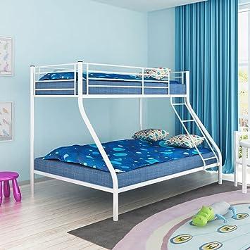 Cadre De Lit Superpose Pour Enfant 200x140 200x90cm Metal Blanc