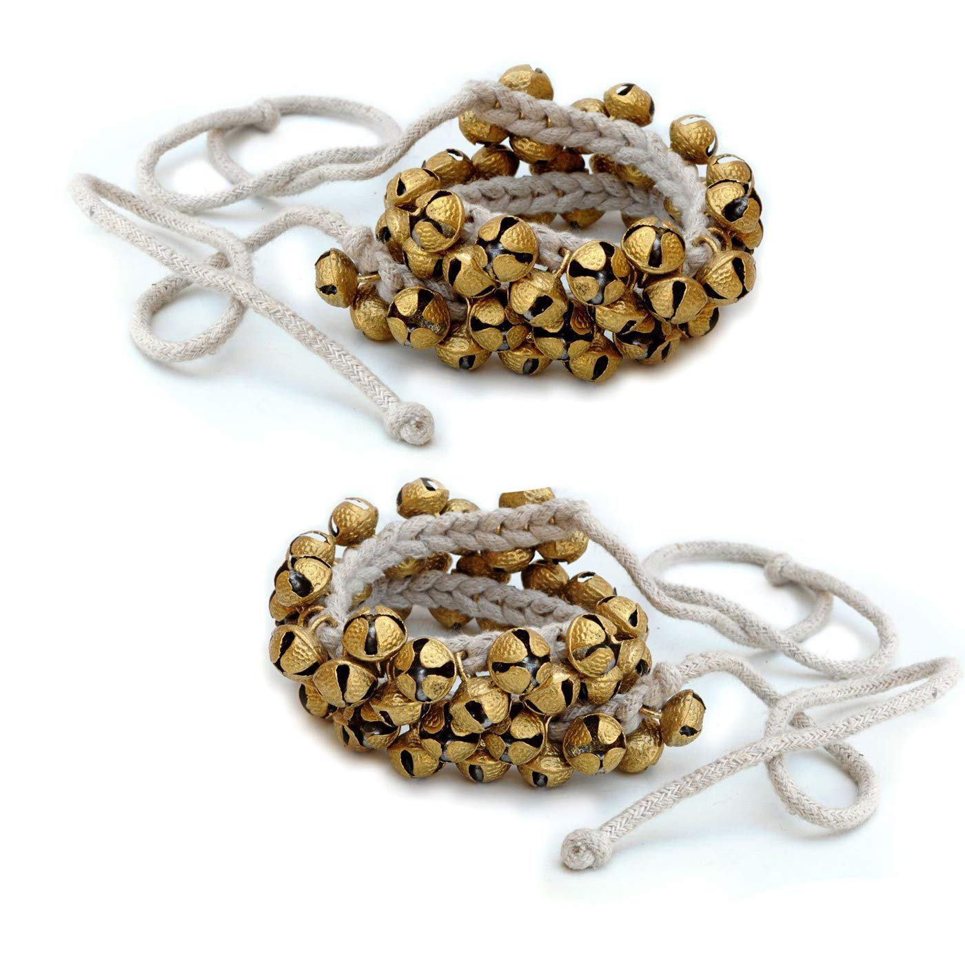 Prisha India Craft ® Kathak Ghungroo Pair, (50+50) (16 No. Ghungroo) Big Bells Best quality Tied with CottonCord Indian Classical Dancers Anklet Musical Instrument by Prisha India Craft
