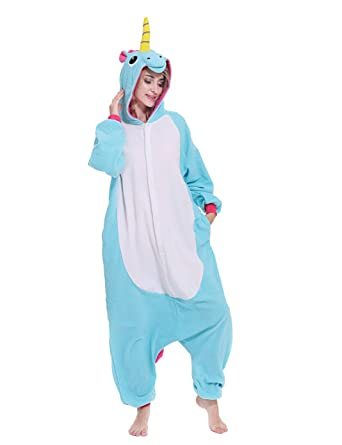 011deacad2 Amazon.com  Adult Unisex Unicorn Onesie One-Piece Pajamas Animal Costume  Cosplay Sleepwear Pajamas for Women Men Teens  Clothing