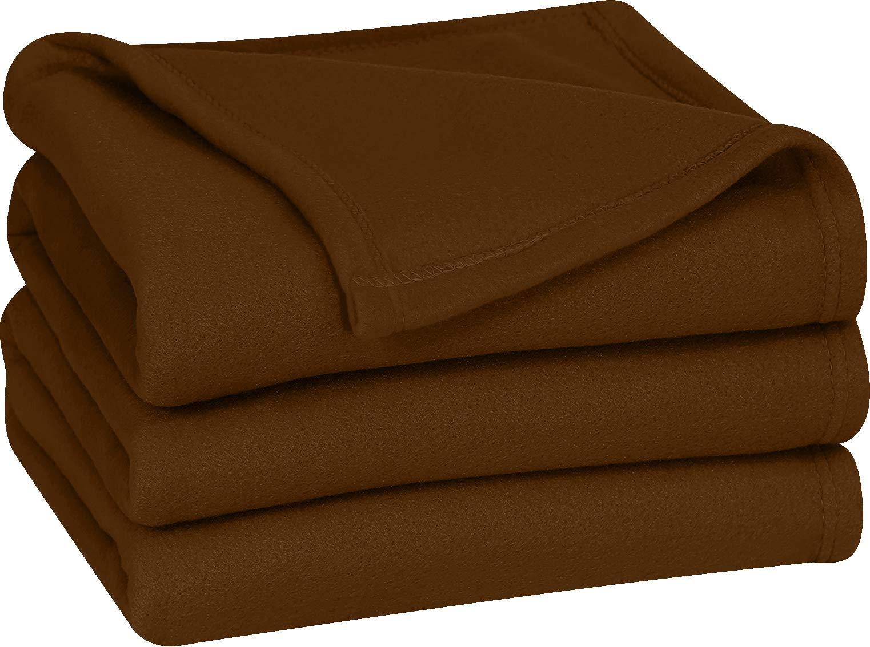 Utopia Bedding Polar Fleece Blanket (Queen, Chocolate) - Extra Soft Brush Fabric - Super Warm Bed Blanket - Lightweight Couch Blanket - Easy Care