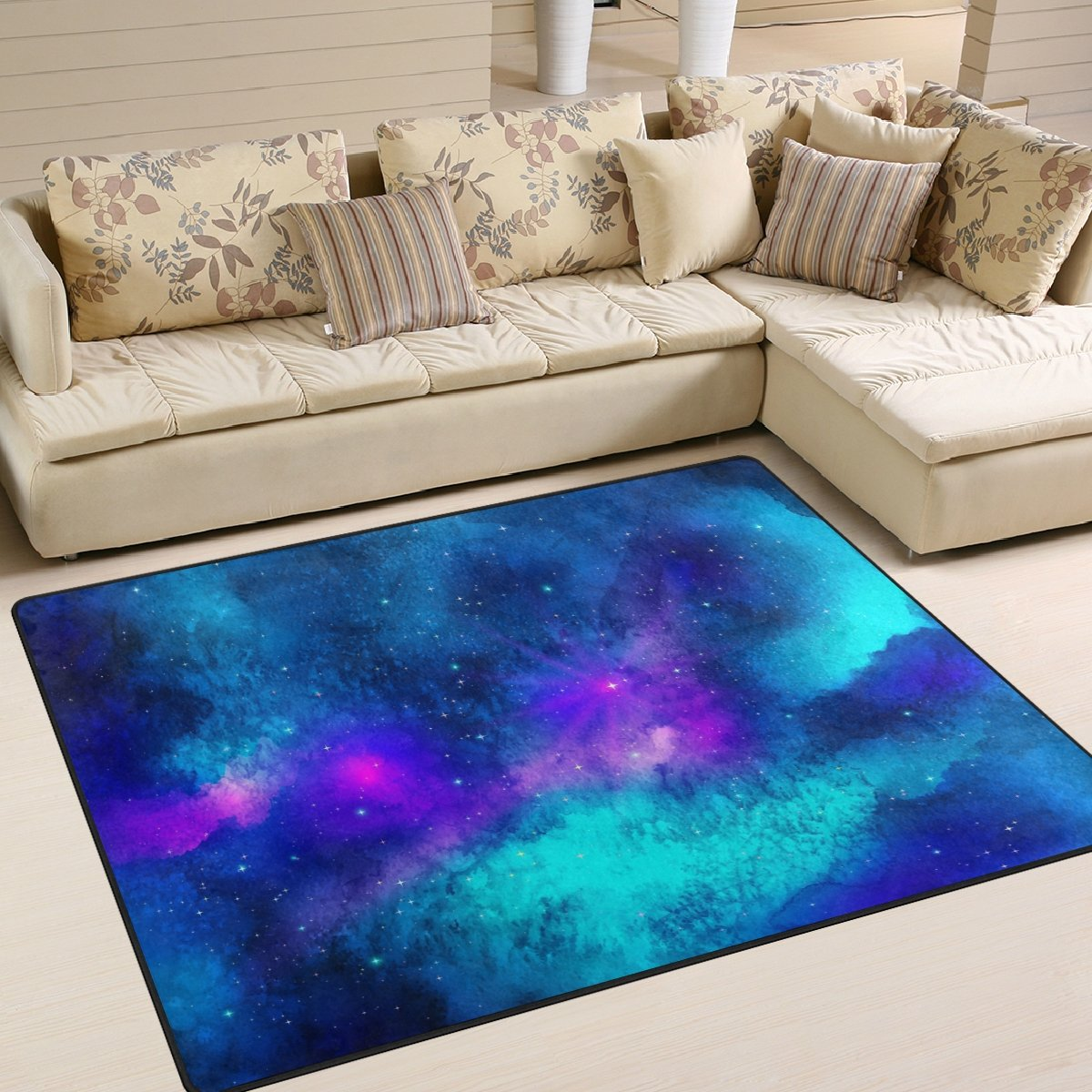 Aideess Triangulum Galaxy Outer Space Area Rugs for Living Room Bedroom 5'3''x4', Kids Children Carpet Rug Non-Slip Floor Mat Resting Area Doormats