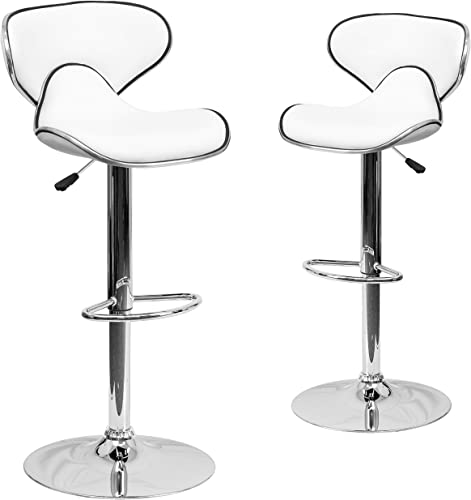 Flash Furniture 2 Pack Contemporary Cozy Mid-Back White Vinyl Adjustable Height Barstool