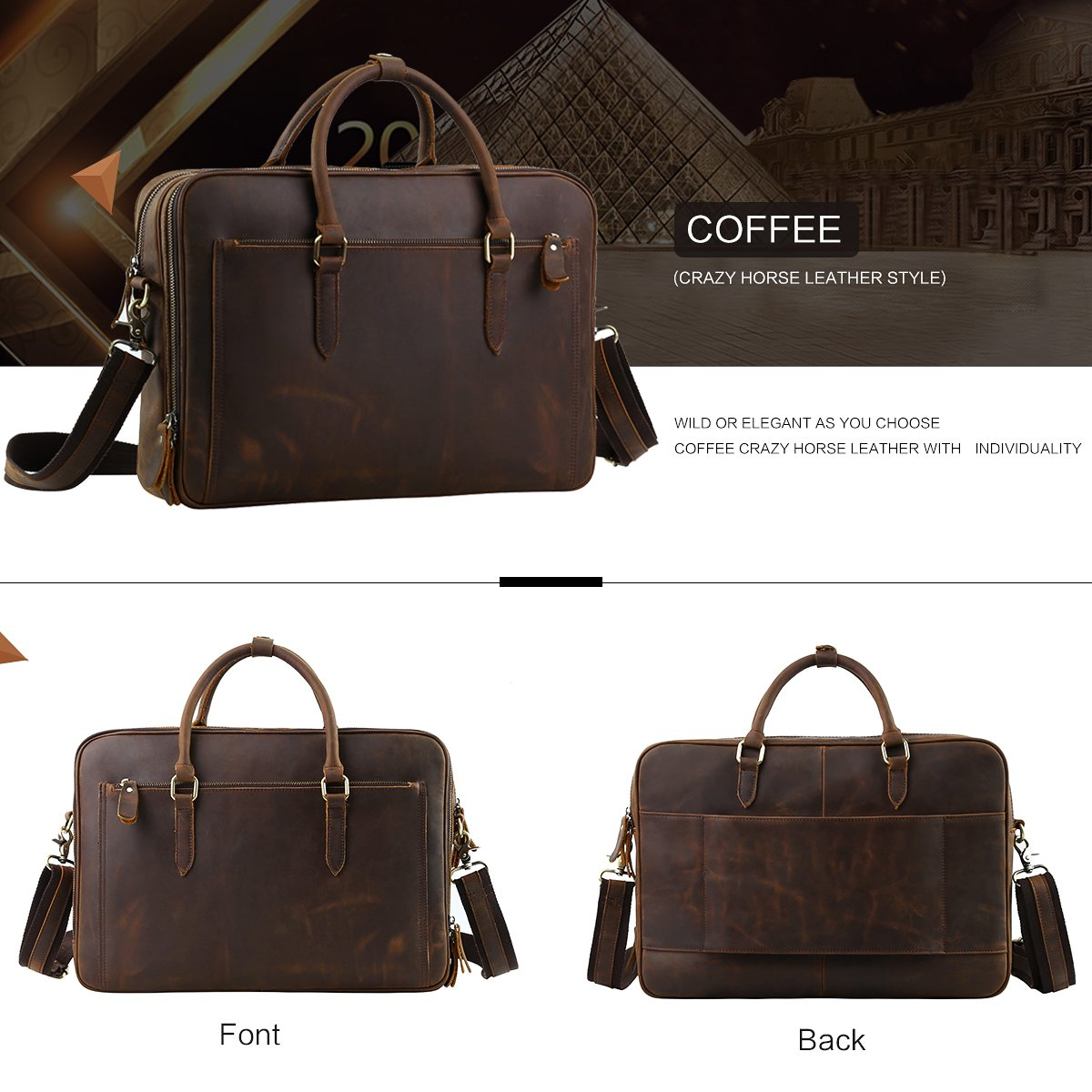 Leathario Mens Leather Briefcase Crossbody Bag Leather Computer Bag Messenger Bag Fit for 15 laptop