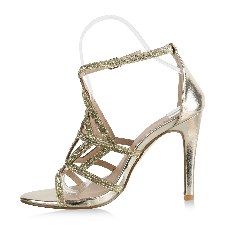 Stiefelparadies Damen Sandaletten High Heels Strass Cut-Outs Stilettos  Party Schuh Flandell: Amazon.de: Schuhe & Handtaschen
