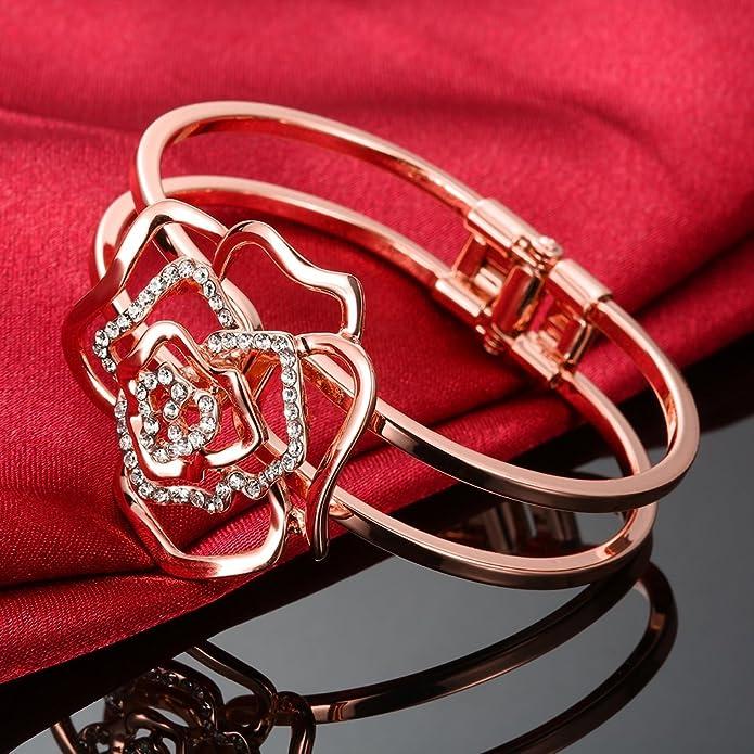 Dilanco Pulsera para mujer bañada en oro rosa de 18 K, con forma de flor y varias  piedras: Amazon.es: Joyería