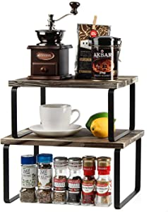 J JACKCUBE DESIGN Kitchen Cabinet Shelf Set of 2, Stackable, Expandable Metal and Rustic Wood Pantry Organizer Storage, Cupboard for Dishes, Spice Jars, Coffee Mug -MK617A