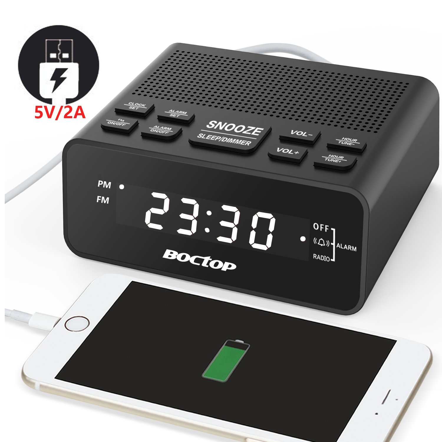 """FM Digital Alarm Clock Radio with Sleep Timer FM Radio, 2A USB Charging Port, 0.6"""" Dimmer LED Display, Snooze and Battery Backup for Bedrooms, Tables"""