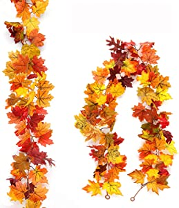 Myfolrena 2-Pack Fall Garland Maple, 5.9ft Artificial Hanging Fall Leaves Garland Vines Christmas Halloween Thanksgiving Decor for Home Wedding Party(Orange)