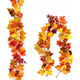 Myfolrena 2-Pack Fall Garland Maple, 5.9ft Artificial Hanging Fall Leaves Garland Vines Christmas Halloween Thanksgiving Deco
