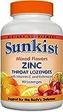 Sunkist Zinc Throat Lozenges with VitaminC and Echinacea, Mixed Fruit, 90 Count