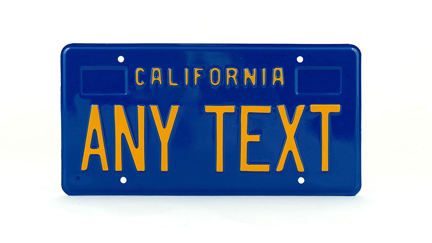 California us usa license plate number plate embossed custom boxes for dates stickers blue boxes for dates