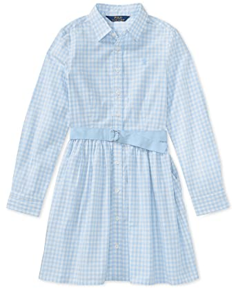 9cdbf720bf5b Image Unavailable. Image not available for. Color  Ralph Lauren Polo Girls  Gingham Shirtdress ...