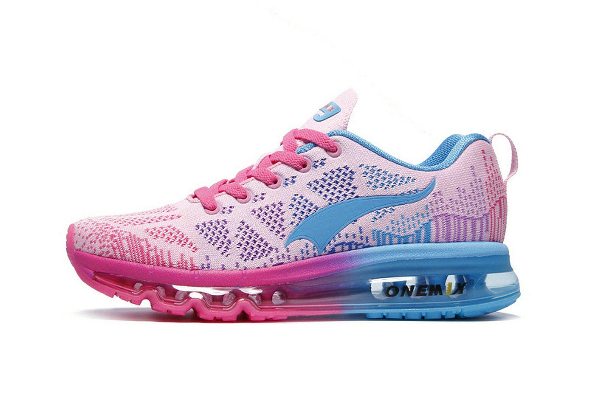 Onemix Women's Lightweight Air Cushion Outdoor Sport running Shoe, Pink Blue, Women 7(M)US/Men 5.5(M)US 38EU