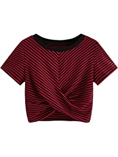 521df31ec0764d Romwe Women s Knot Front Cuffed Sleeve Striped Crop Top Tee T-Shirt ...