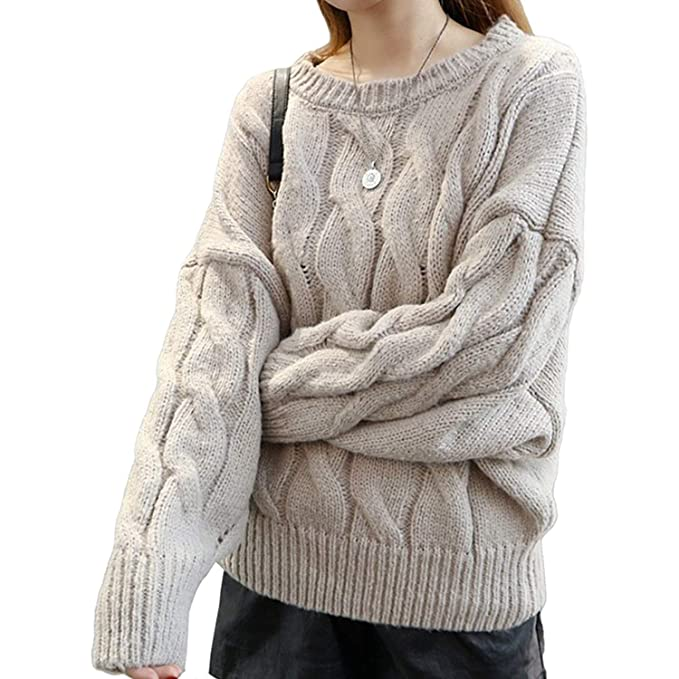 Adelina Sweater Mujer Manga Larga Cuello Redondo Suéter Áspero Pullover  Elegantes Fashion Vintage Anchos Grueso Ropa Unicolor Casuales Termica  Jerseys ... 322228e3bc18