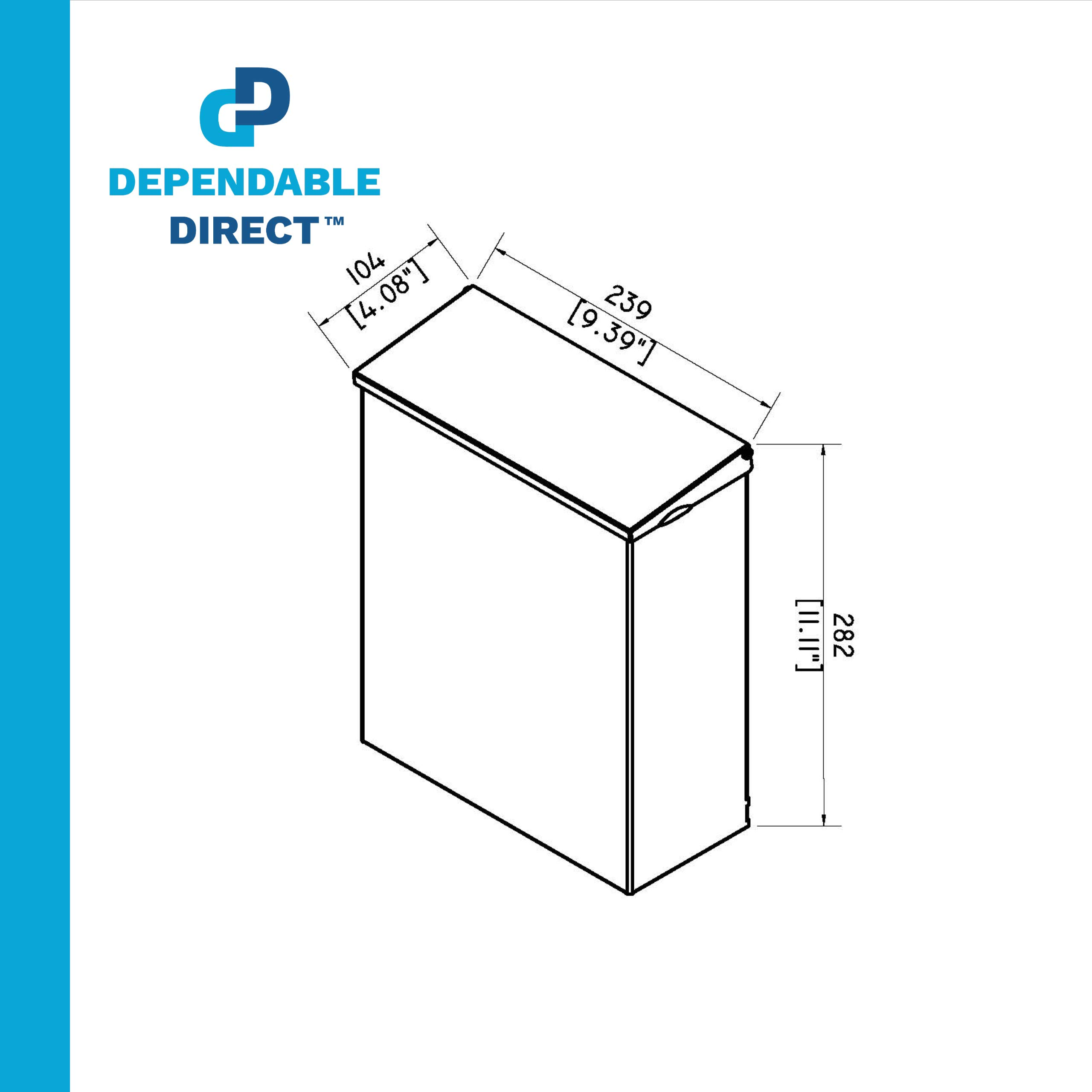 Sanitary Napkin Disposal with Key and Lock - 304 Grade Stainless Steel - 1.8 Gallon Capacity - by Dependable Direct by Dependable Direct (Image #6)