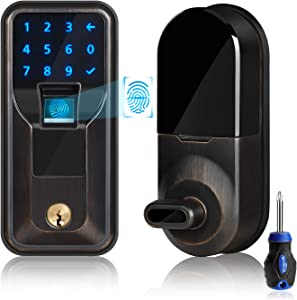 iMagic Electronic Fingerprint Deadbolt, Keypad Entry Door Lock, LED Touch Screen Keypad Lock with Built-in Alarm, One-Touch Locking and Back up Key, Easy to Install for Home and Office (Aged Bronze)