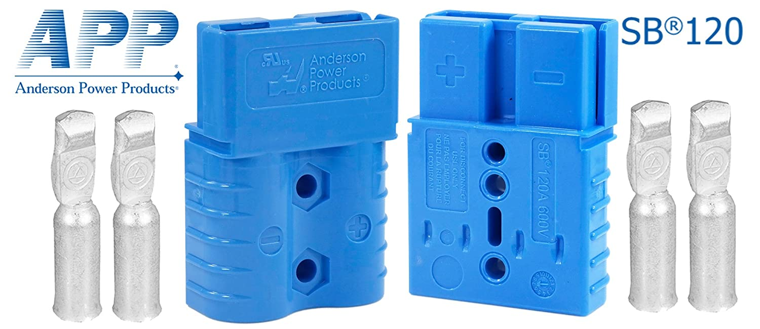 Anderson SB120 Power Ground Quick Disconnect Blue Housing w// 4 AWG Gauge Contact 1Pair