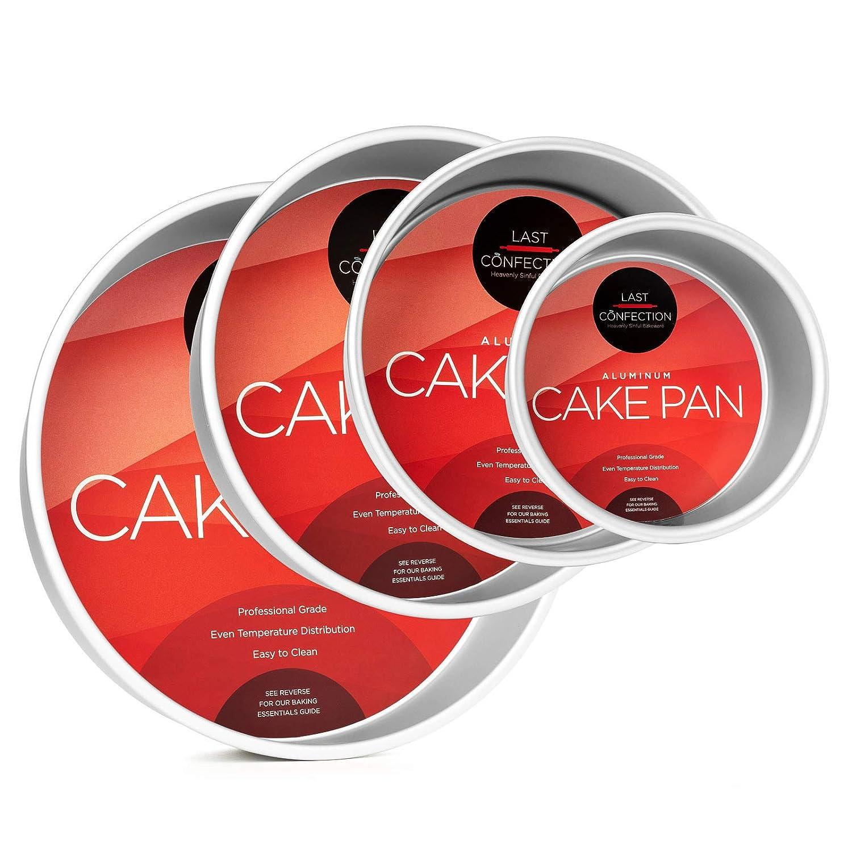 "Last Confection 4-Piece Round Cake Pan Set - Includes 6"", 8"", 10"" and 12"" Aluminum Pans - 3"" Deep"