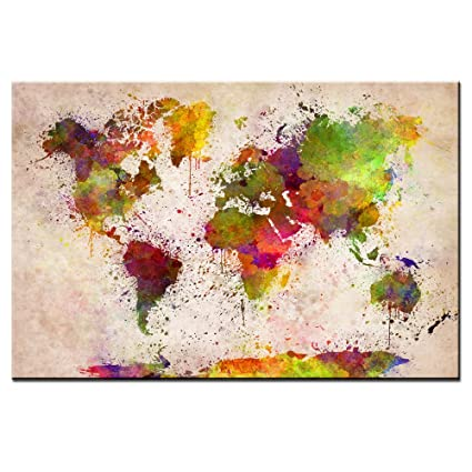 Amazon dingdongart colorful world map painting canvas world dingdongart colorful world map painting canvas world map wall art framed abstract classic map poster gumiabroncs Choice Image