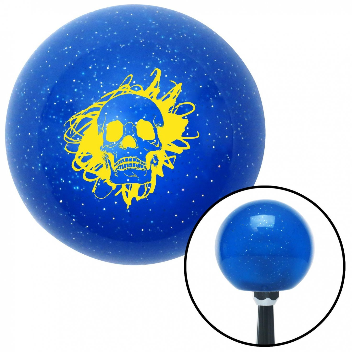 Yellow Skull in a Mess American Shifter 19800 Blue Metal Flake Shift Knob