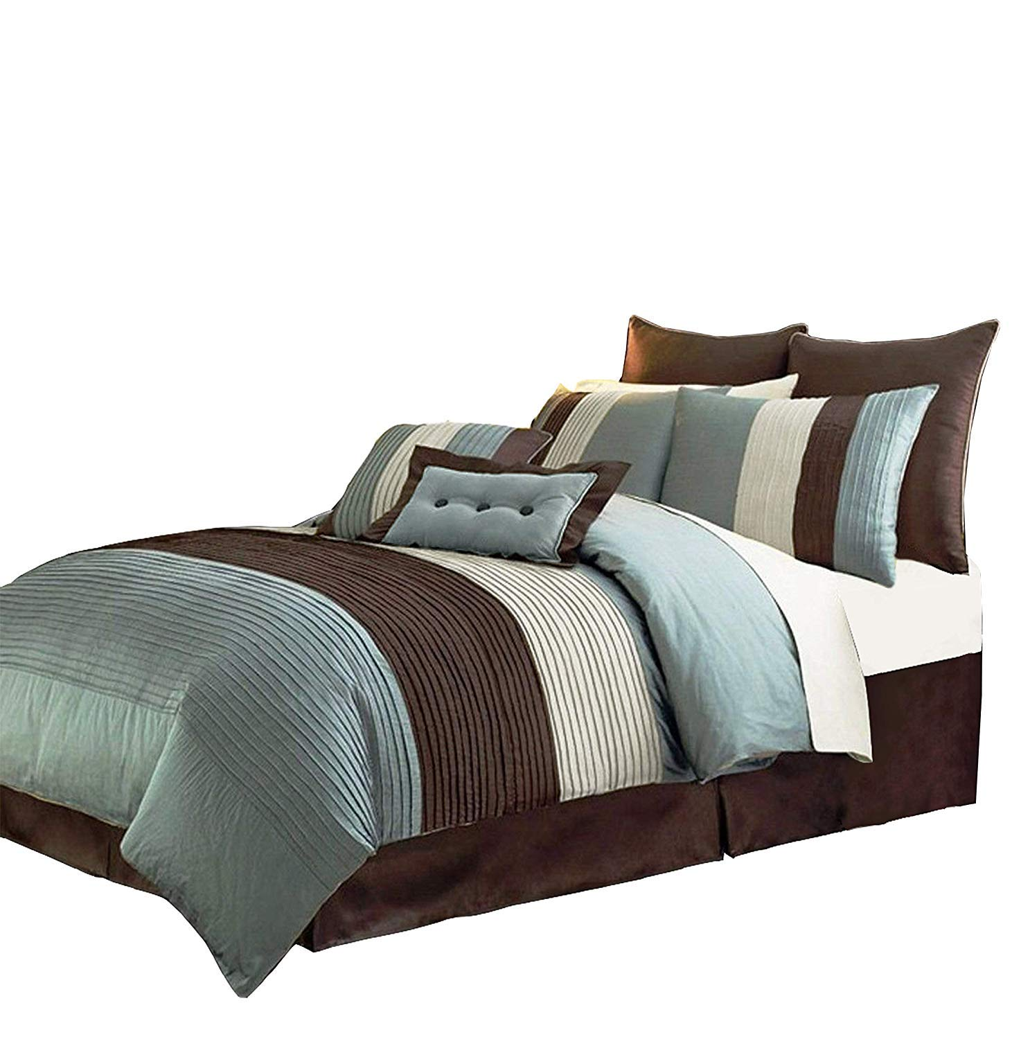 Amazon Com 8 Pieces Off White Blue And Brown Stripe Comforter King