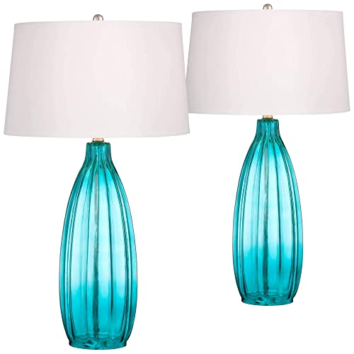 Stella Coastal Table Lamps Set of 2 Fluted Blue Glass White Drum Shade for Living Room Family Bedroom Bedside Nightstand – 360 Lighting