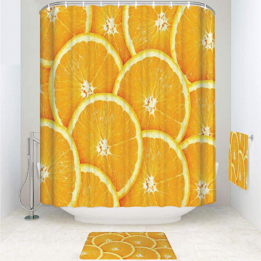 iPrint Polyester Fabric Bathroom Shower Curtain Set with Hooks,Orange Slices Close Up Photography Clean Healty,3pcs Set with Shower Curtain Bath Towel Non-Slip mat for Home Decor Bathroom