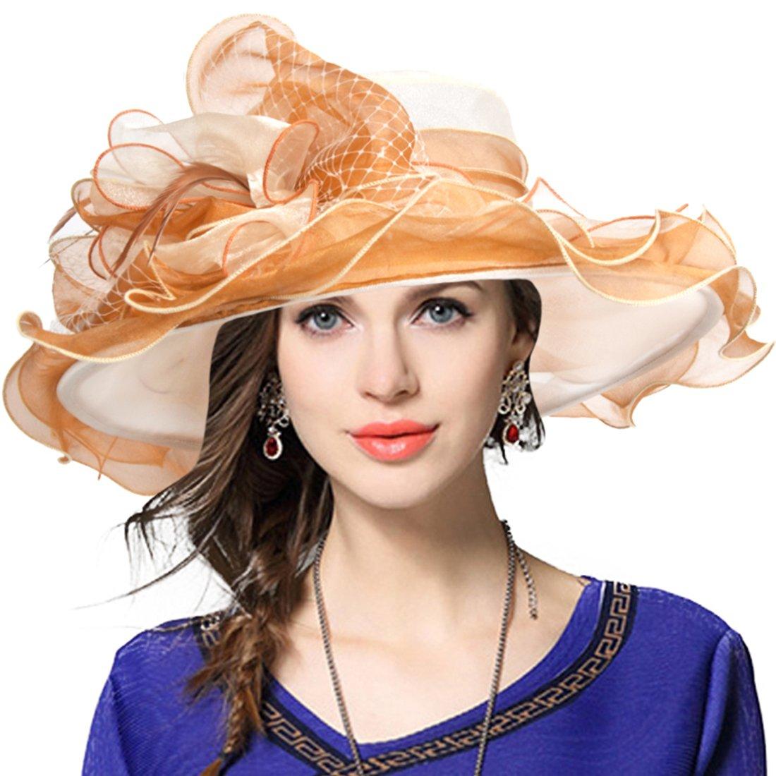 JESSE · RENA Women's Church Derby Dress Fascinator Bridal Cap British Tea Party Wedding Hat (Two-Tone-Apricot)